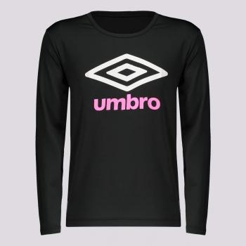 Camiseta Umbro Basic UV Manga Longa Feminina Juvenil Preta