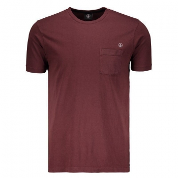Camiseta Volcom Pocket Circle Stoned Vinho