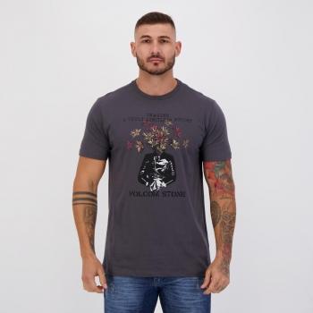 Camiseta Volcom Silk Slim Floral Cinza