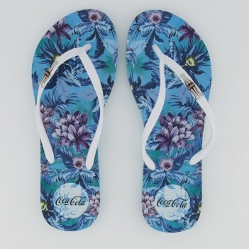 Chinelo Coca Cola Jungle Floral Feminino Azul