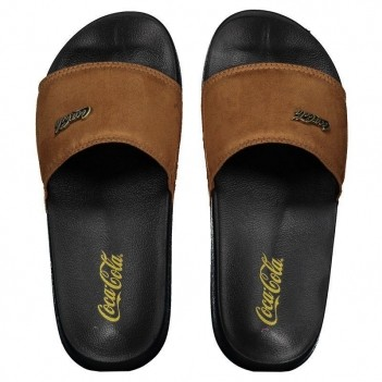 Chinelo Coca Cola Slide Suede Coke Preto e Marrom