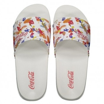 Chinelo Coca Cola Slide Tropicoke Fun Branco