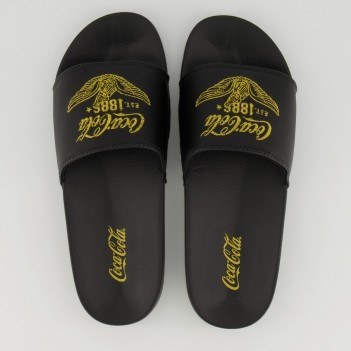 Chinelo Coca Cola Slide Wings Feminino Preto