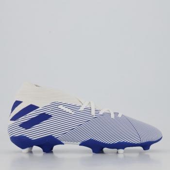 Chuteira Adidas Nemeziz 19.3 FG Campo Juvenil Branca e Azul