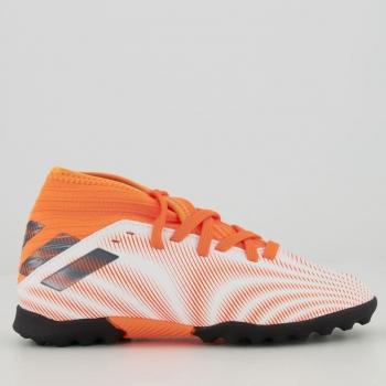 Chuteira Adidas Nemeziz 20.3 TF Society Juvenil Branca e Laranja