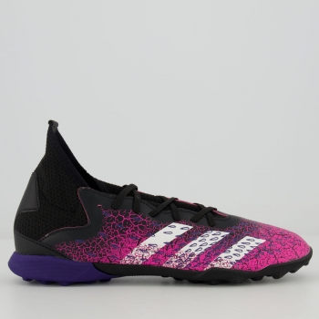 Chuteira Adidas Predator Freak 21.3 TF Society Juvenil Rosa