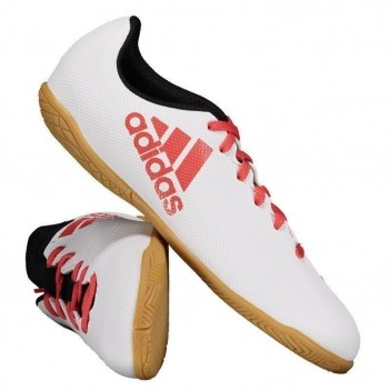 Chuteira Adidas X 17.4 IN Futsal Juvenil Branca e Vermelha