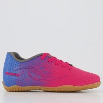 Chuteira Dalponte Flash Futsal Juvenil Rosa e Azul
