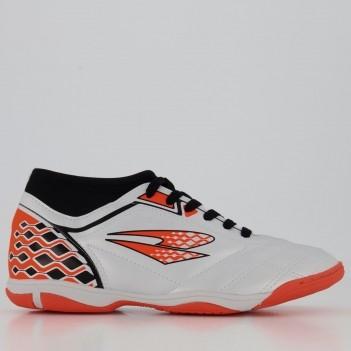 Chuteira Dray Styfel Short Futsal Branca e Laranja