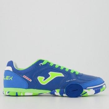 Chuteira Joma Top Flex Futsal Azul e Verde