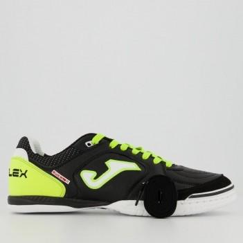 Chuteira Joma Top Flex Futsal Preta e Fluorescente