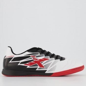 Chuteira Oxn Dynamic Futsal Branca e Vermelha