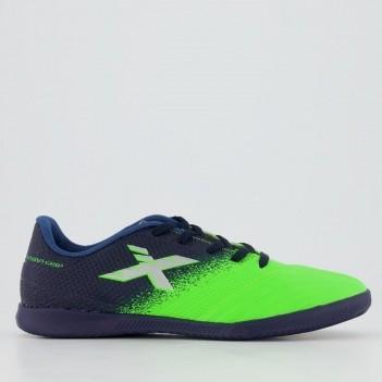 Chuteira Oxn Fusion Grip 2 Futsal Juvenil Azul e Verde
