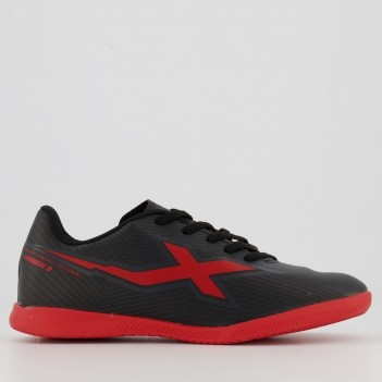Chuteira Oxn Mission 3 Futsal Juvenil Preta e Vermelha
