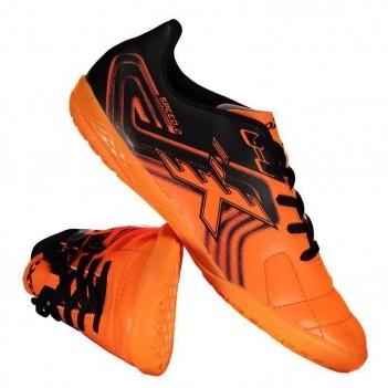 Chuteira Oxn Speed 2 Futsal Juvenil Laranja e Preta