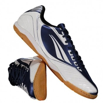 Chuteira Penalty Digital R1 IX Futsal Branca e Azul