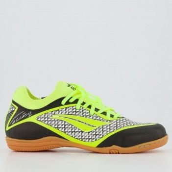 Chuteira Penalty F12 Locker IX Futsal Juvenil Preta e Amarela