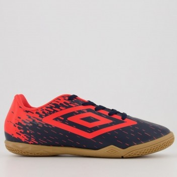 Chuteira Umbro Acid Futsal Juvenil Marinho e Coral