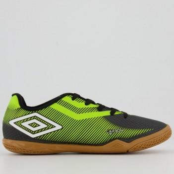 Chuteira Umbro Carbon II Futsal Juvenil Preta e Verde