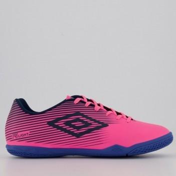 Chuteira Umbro F5 Light Futsal Rosa e Azul