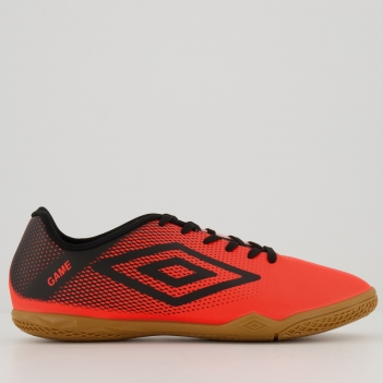 Chuteira Umbro Game Futsal Coral e Preta