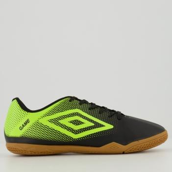 Chuteira Umbro Game Futsal Preta e Verde