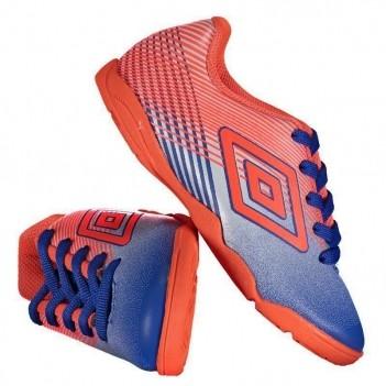 Chuteira Umbro Slice III Futsal Juvenil Azul e Laranja