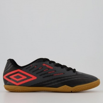 Chuteira Umbro Speed IV Futsal Preta e Coral
