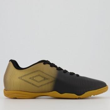 Chuteira Umbro Vibe Futsal Preta e Dourada