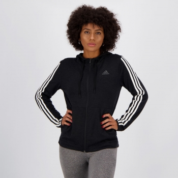 Jaqueta Adidas 3 Stripes Feminina Preta