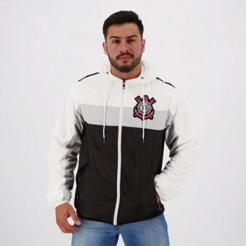 Jaqueta Corinthians Quebra Vento Branca e Preta