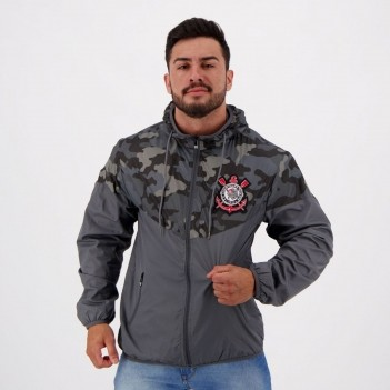 Jaqueta Corinthians Quebra Vento Camuflada Cinza