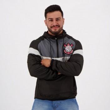Jaqueta Corinthians Quebra Vento Preta e Chumbo