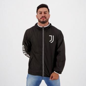 Jaqueta Juventus Quebra Vento Lettering Preta