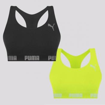 Kit 2 Tops Puma Sem Costura Preto e Amarelo