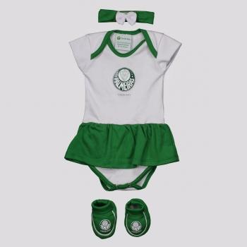 Kit Body Palmeiras Torcida Feminino Branco e Verde