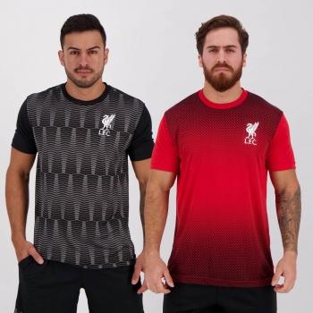 Kit de 2 Camisas Liverpool Vermelha e Preta