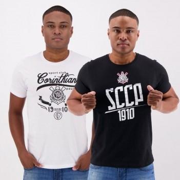 Kit de 2 Camisetas Corinthians II Branca e Preta