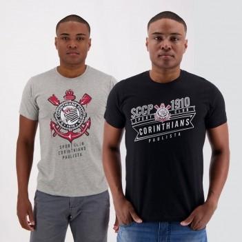 Kit de 2 Camisetas Corinthians Stripe Cinza e Preta
