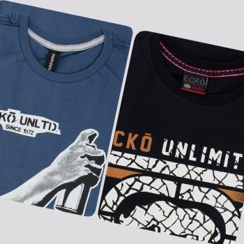 Kit de 2 Camisetas Ecko V Preta e Azul