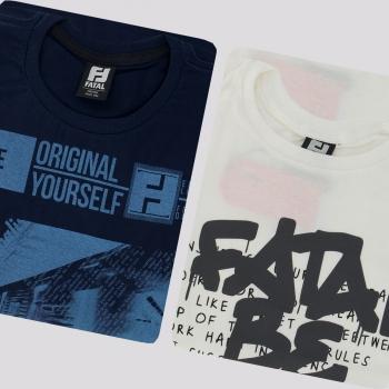 Kit de 2 Camisetas Fatal Classic Marinho e Branca