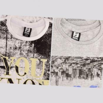 Kit de 2 Camisetas Fatal XI Branca e Cinza