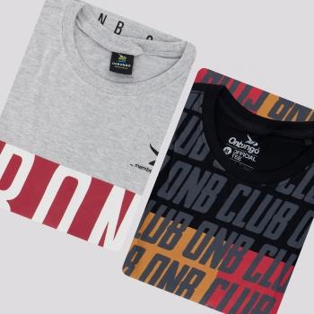 Kit de 2 Camisetas Onbongo Preta e Cinza Mescla