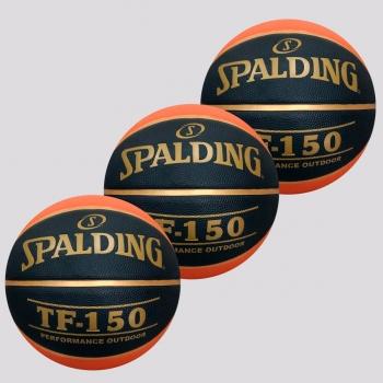 Kit de 3 Bolas de Basquete Spalding TF 150