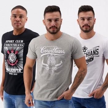 Kit de 3 Camisetas Corinthians III Preta Cinza e Branca