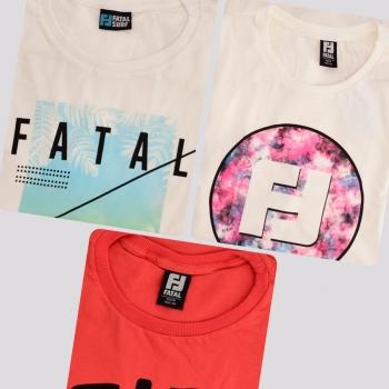 Kit de 3 Camisetas Fatal Modern Flowers