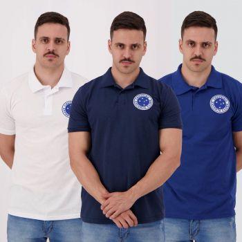 Kit de 3 Polos Cruzeiro Branca Marinho e Azul Royal