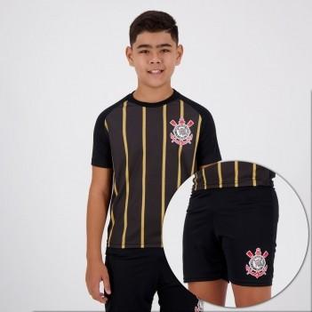 Kit Juvenil Corinthians Stripes Preto e Dourado