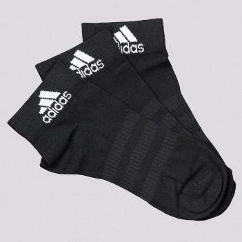 Kit Meia Adidas Ankle Cano Médio 3 Pares Preta