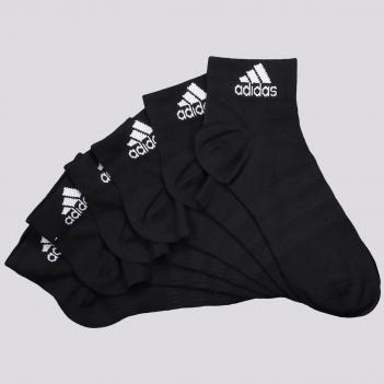 Kit Meia Adidas Ankle Cano Medio 6 Pares Preta